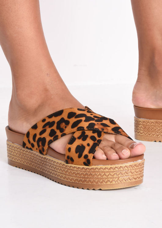 Leopard Print Espadrille Look Cross Over Flatform Sliders Multi