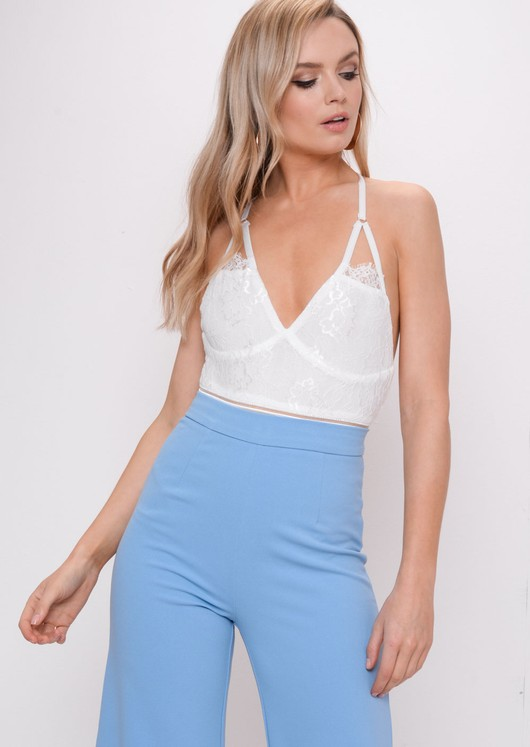 Lace Backless Mesh Bodysuit White