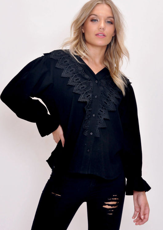 Lace Button Through Blouse Top Black