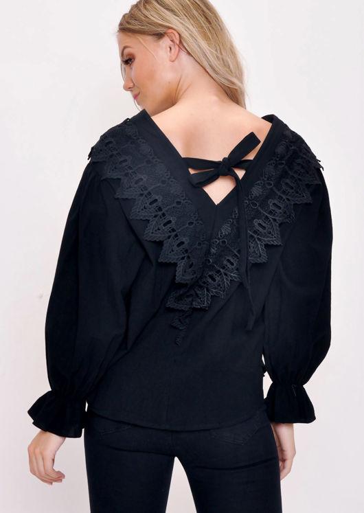 Lace Button Through Blouse Top Black