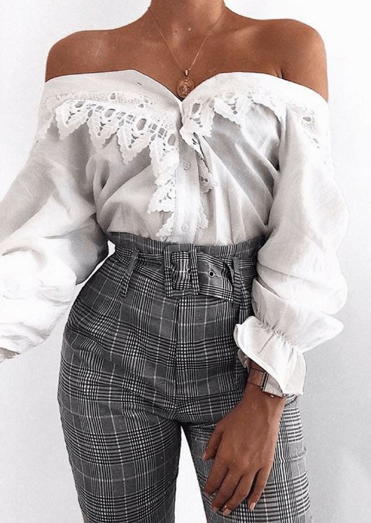 Lace Button Through Blouse Top White