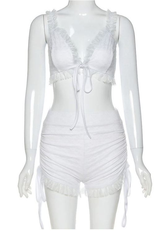 Lace Frilled Bralette Top and Side Ruched Shorts Co ord White