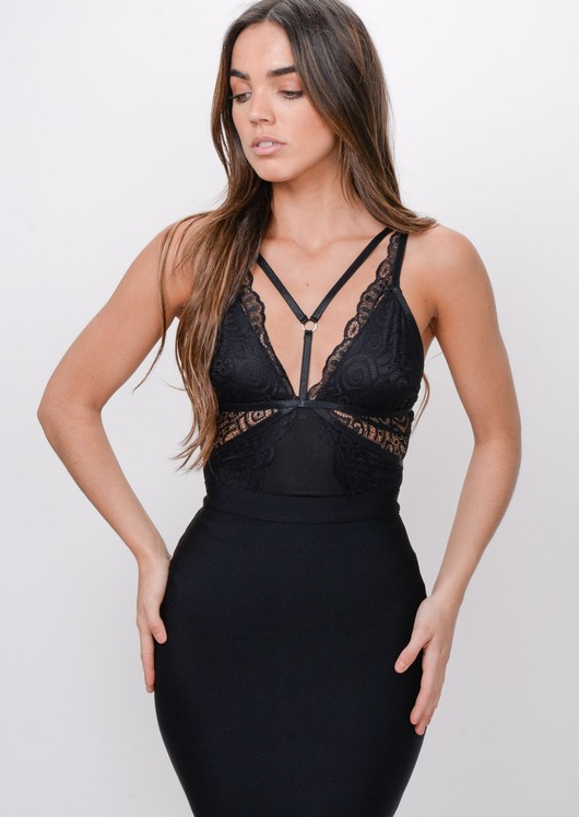 Lace Harness Front Bodysuit Black