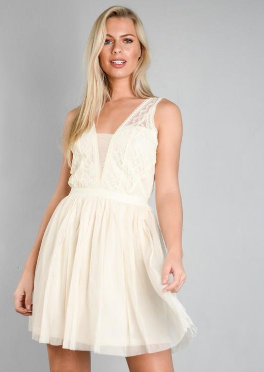 Lace Mesh Tulle Skater Mini Dress Cream