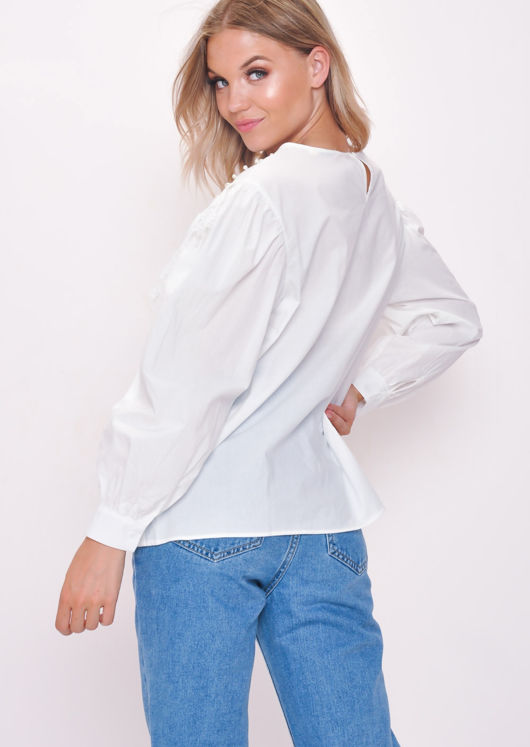 Lace Pearl Embellished Blouse Top White