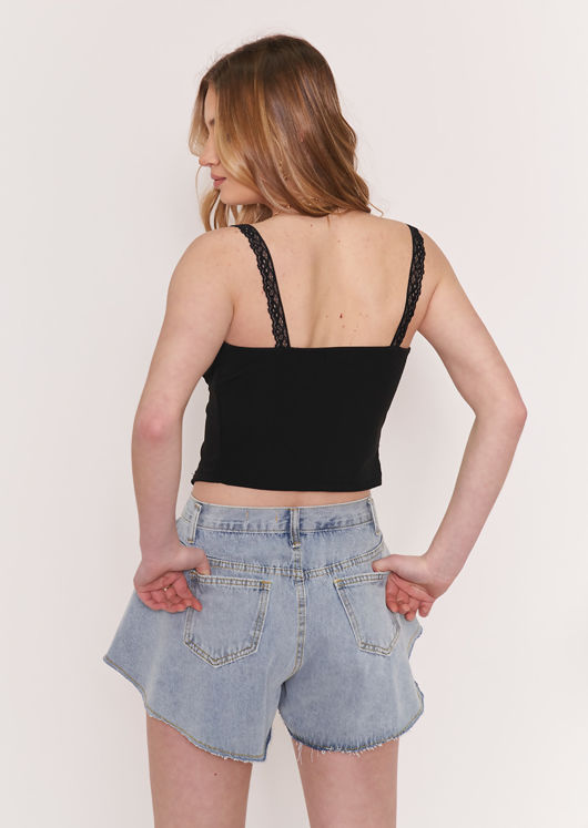Lace Strappy Cupped Open Front Crop Top Black