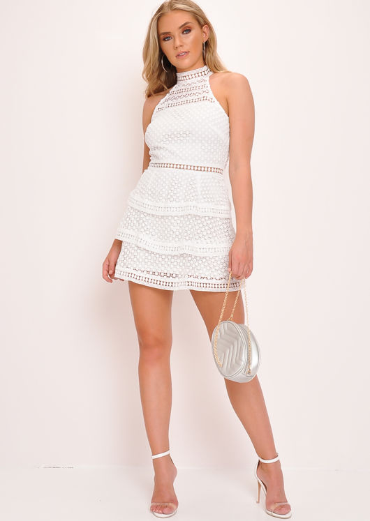 Lace Tiered Frill Mini Dress White