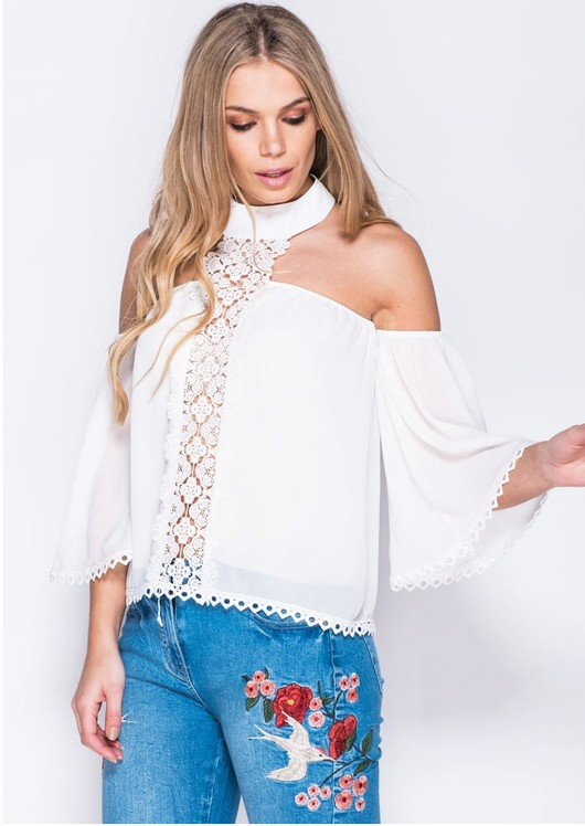 Lace Trim Choker Neck Detail Off Shoulder Bell Sleeve Top White