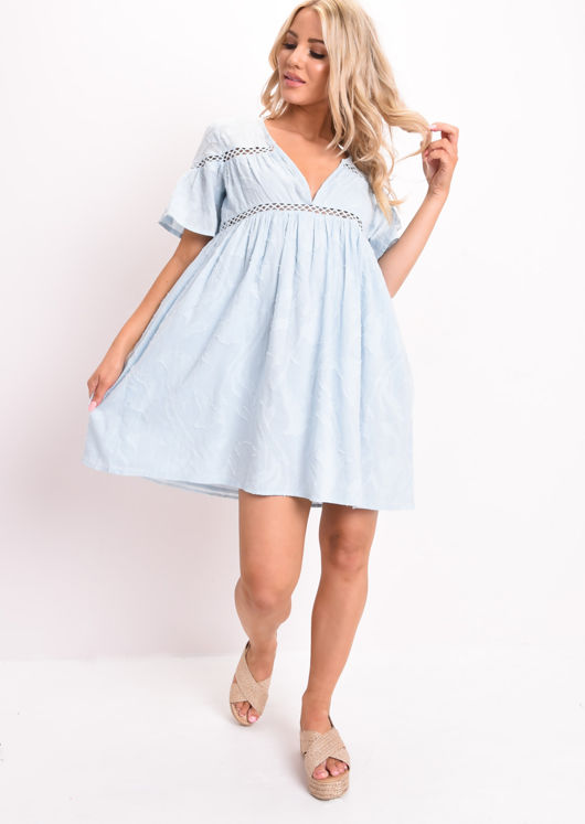 Lace Trim Floral Mini Smock Dress Blue