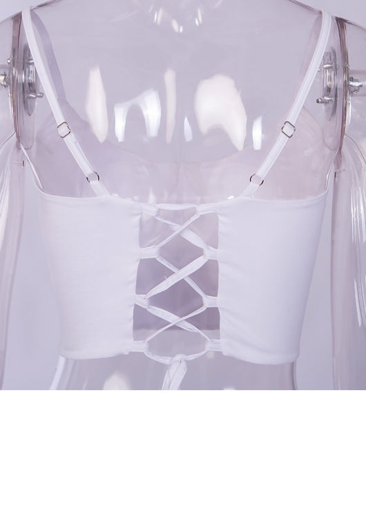 Lace Up Cup Detail Strappy Crop Top White