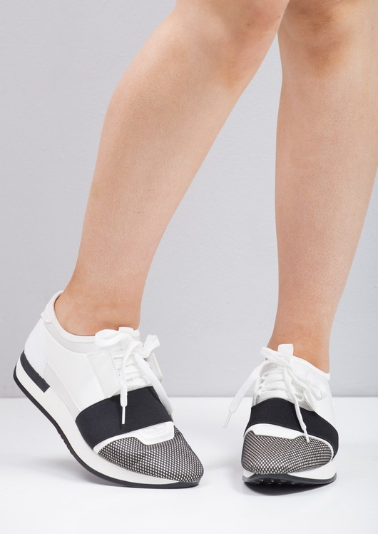 Lace Up Elastic Band Sneakers Trainers White