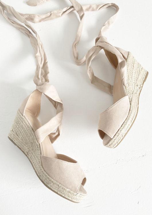 Lace Up Espadrille Wedge Sandals Suede Blush Beige