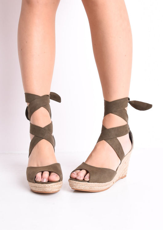 Lace Up Espadrille Wedge Sandals Suede Khaki Green
