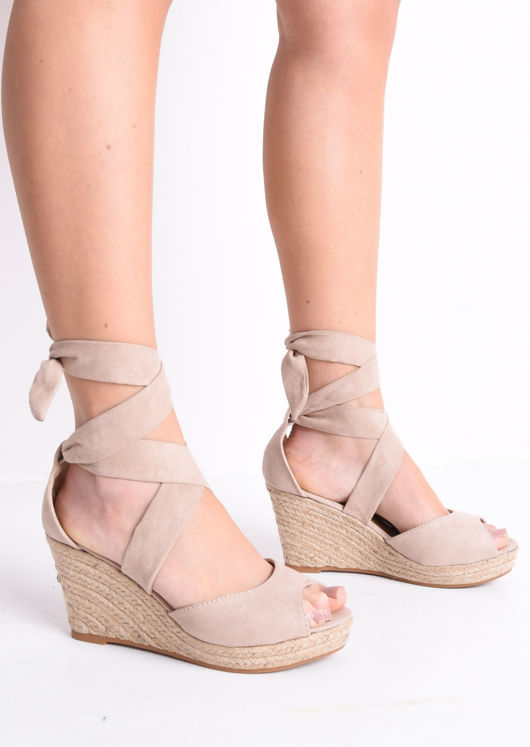 22e83048449 Lace Up Espadrille Wedge Sandals Suede Pink