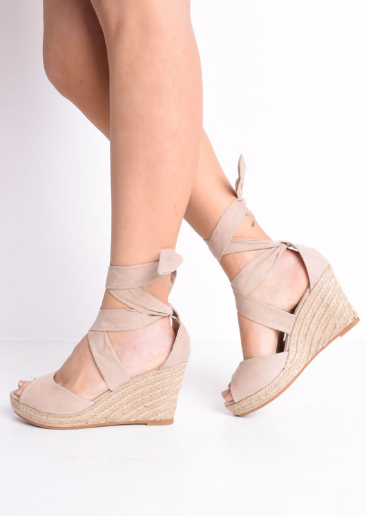 Lace Up Espadrille Wedge Sandals Suede Blush Pink