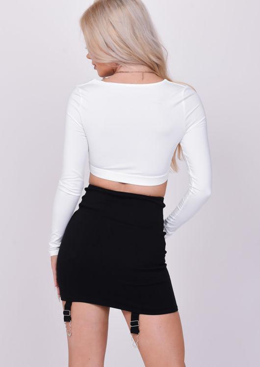 Lace Up Eyelet Detail Suspender Corset Mini Skirt Black