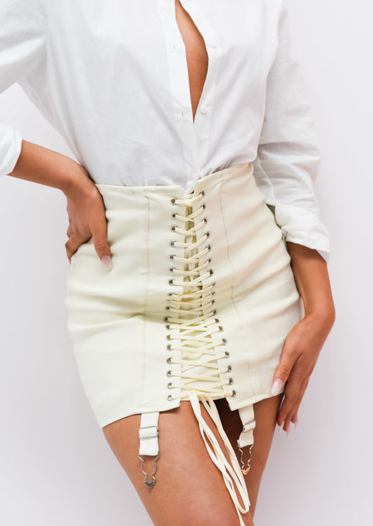 Lace Up Eyelet Detail Suspender Corset Mini Skirt White