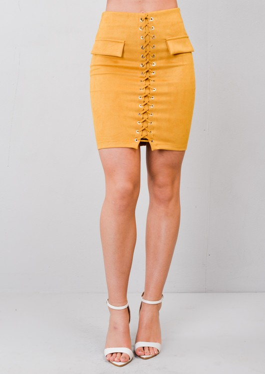 Lace Up Faux Suede Bodycon Skirt Mustard Yellow