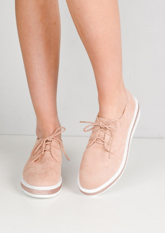 Lace Up Faux Suede Flatform Flats Dusty Pink