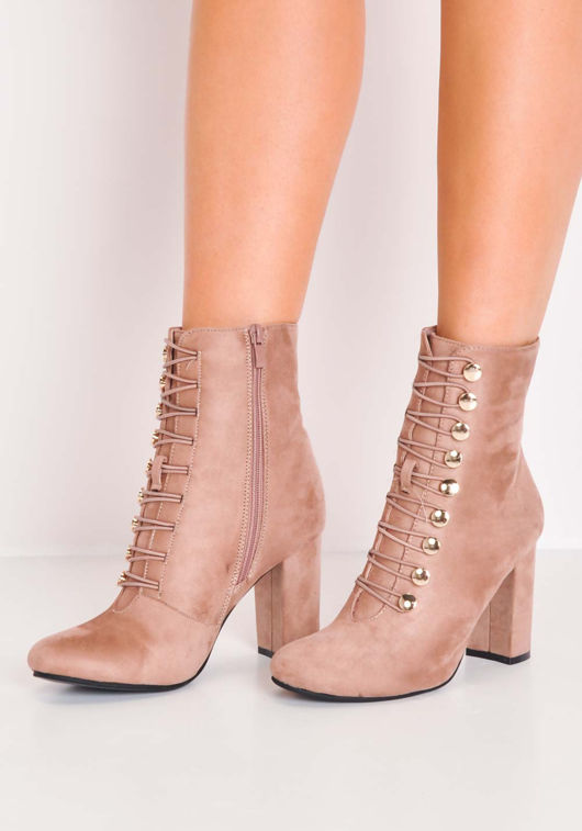 Lace Up Faux Suede Military Style Ankle Boots Pink