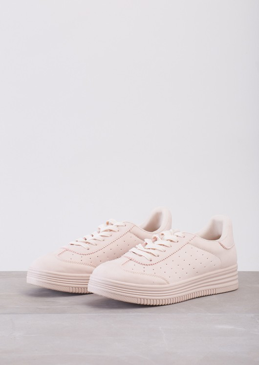 Lace Up Flatform Trainers Pink