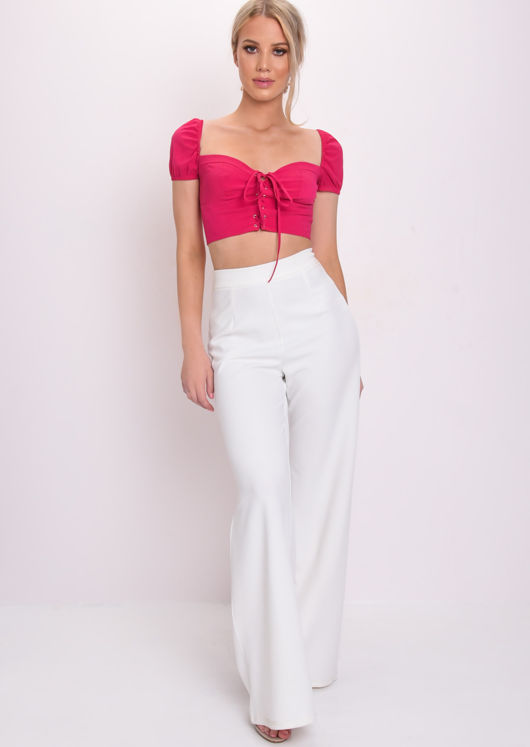 Lace Up Front Square Neck Milkmaid Crop Top Pink