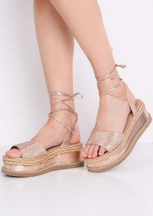 Lace Up Metallic Glitter Flat Espadrille Sandals Rose Gold