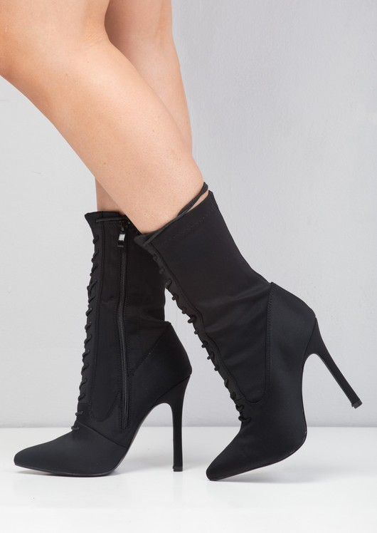 Lace Up Pointed Toe Stiletto Heeled Sock Boots Black
