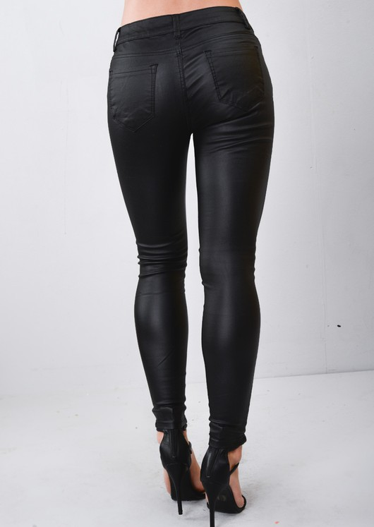 3f2c1665a57b High Waisted Lace Up Waist Leather Look Skinny Jeans Trousers Black