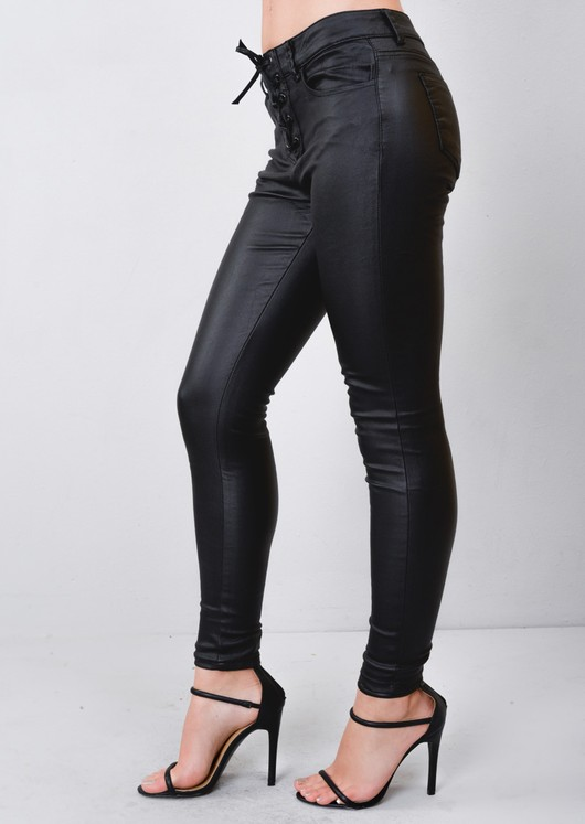 THE FEDERATION LEATHER LOOK   JEANS ALL SIZES  LACED UP BACK