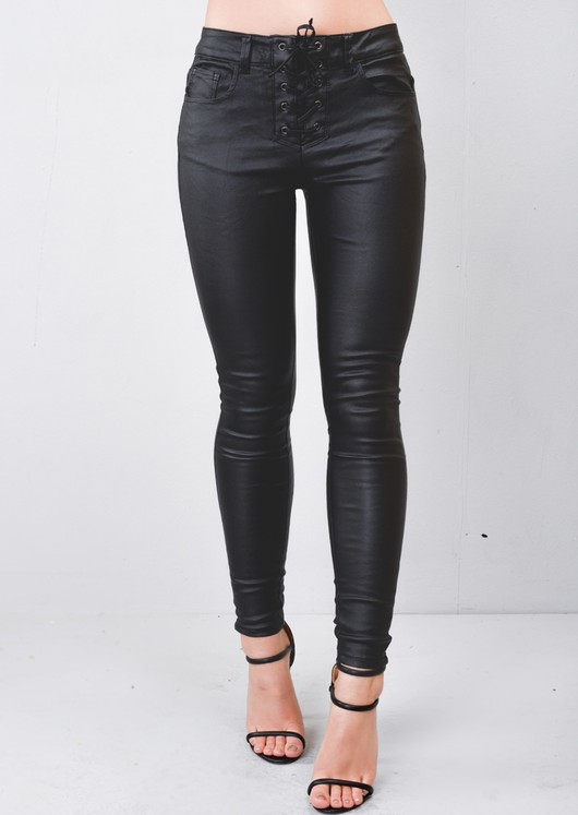 High Waisted Lace Up Waist Leather Look Skinny Jeans Trousers Black