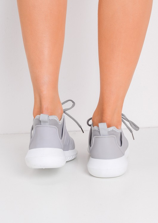 Lace Up Stretchy Trainers Grey