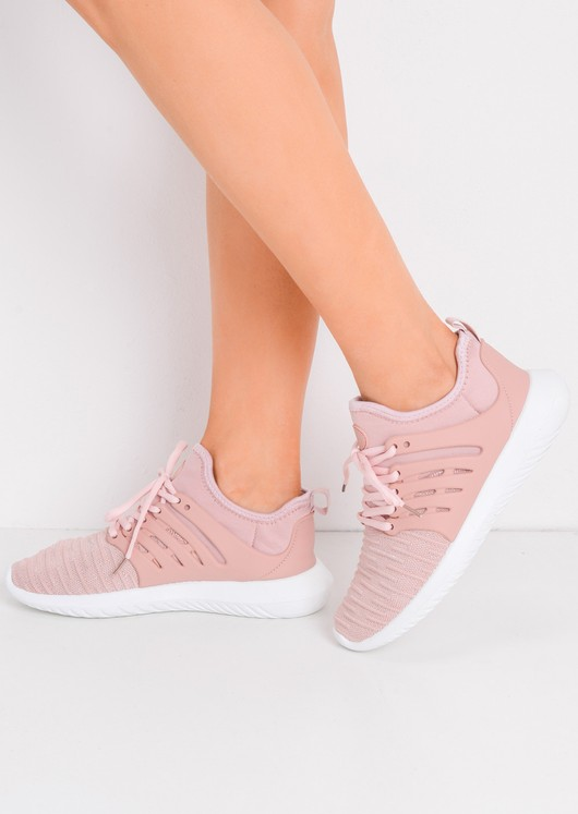 Lace Up Stretchy Trainers Pink