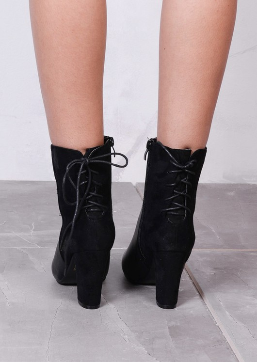 Lace Up Suede Leather Mix Heeled Ankle Boots Black