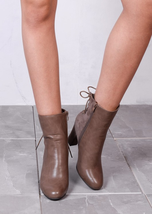 Lace Up Suede Leather Mix Heeled Ankle Boots Taupe Brown