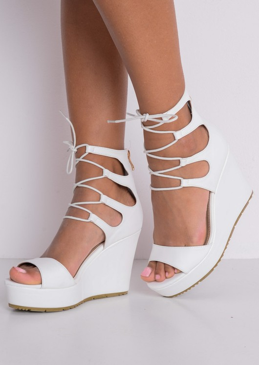Faux Leather Lace Up Platform Wedge Heeled Sandals White
