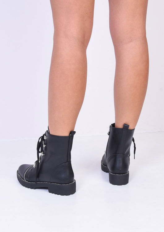 Lace Up Zip Detail Faux Leather Combat Ankle Boots Black
