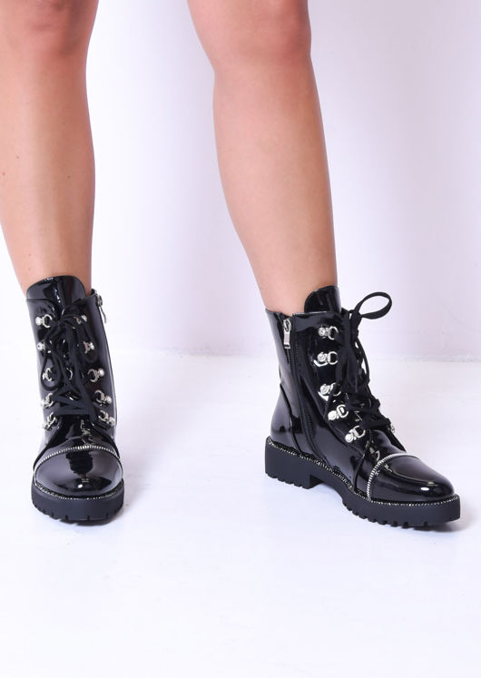 Lace Up Zip Detail Patent Combat Ankle Boots Black