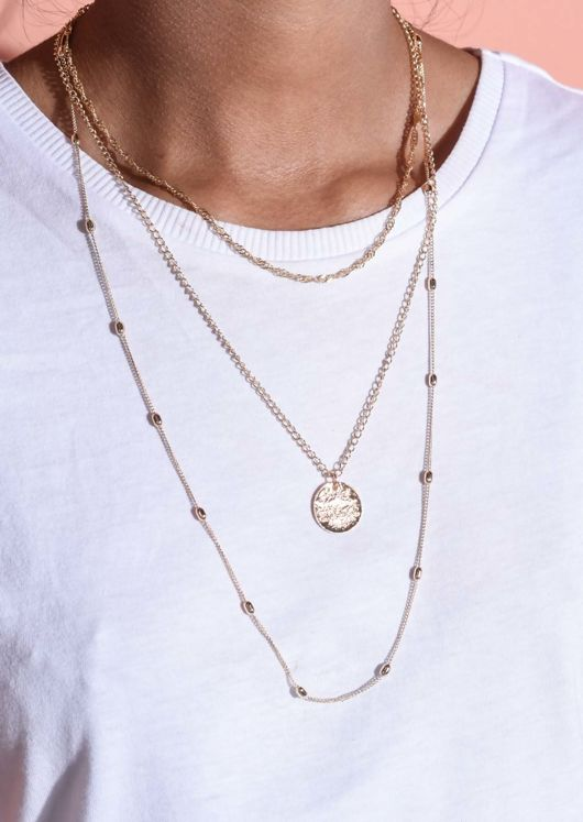 Layered Chain Textured Circle Necklace Gold