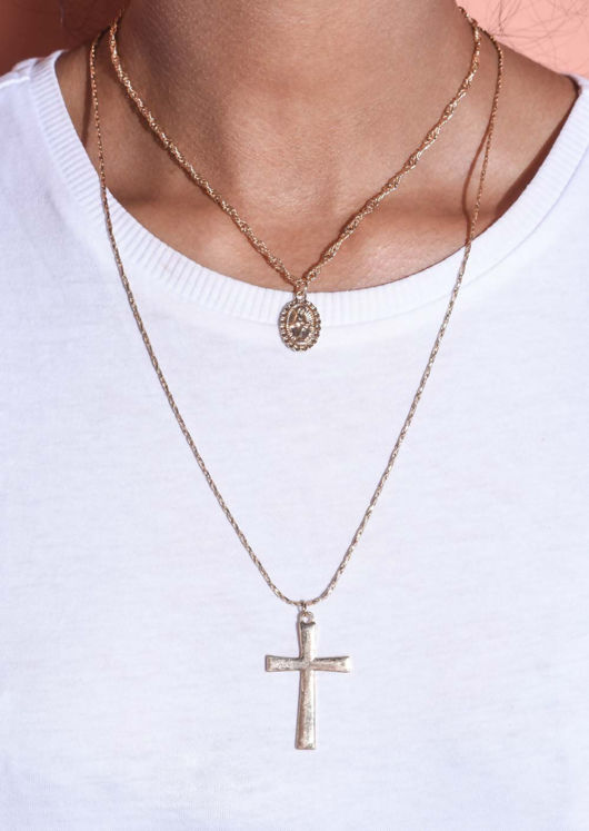 Layered Cross Chain Pendant Necklace Gold
