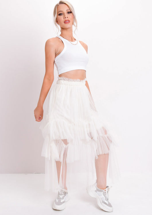 c670ce96114d73 Layered Frill Trim Tulle Midi Skirt Beige | Lily Lulu