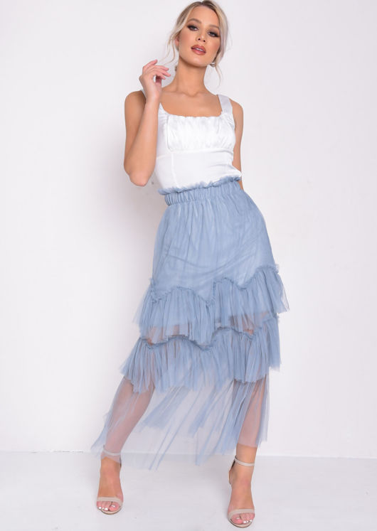 f3ff0924c246bc Layered Frill Trim Tulle Midi Skirt Blue | Lily Lulu