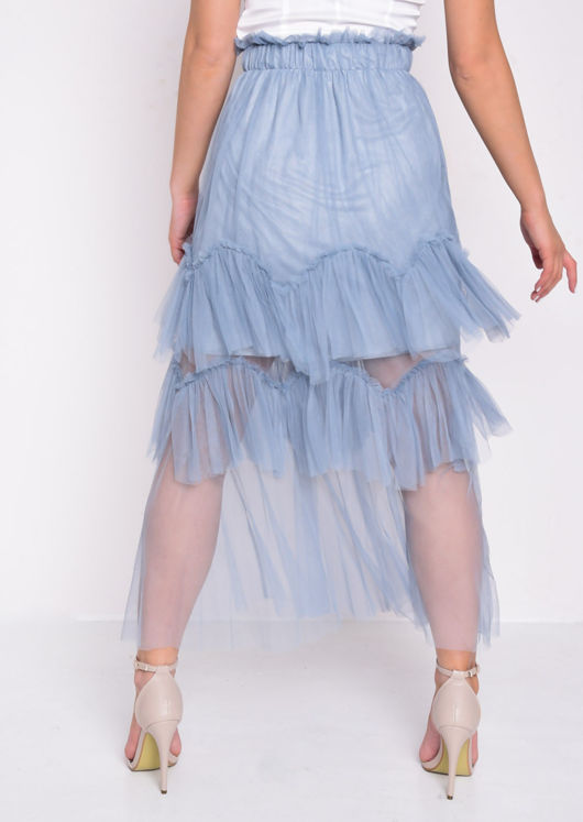 Layered Frill Trim Tulle Midi Skirt Blue