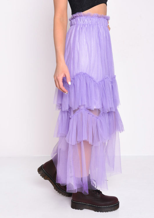 Layered Frill Trim Tulle Midi Skirt Purple