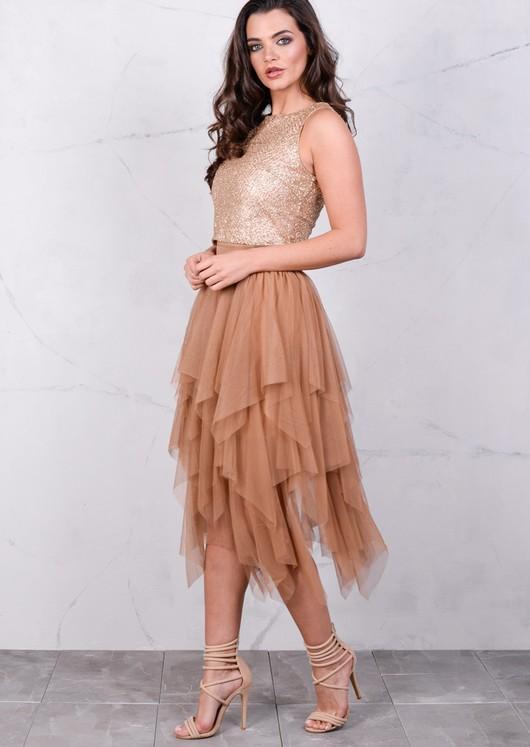 Layered Tutu Midi Skirt Mocha