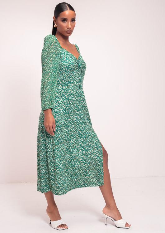 Leaf Print Front Tie Frilled Square Neckline Midi Dress Green