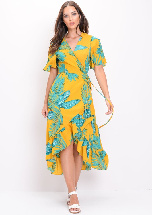 Leaf Print Wrap Over Frill Midi Dress Yellow