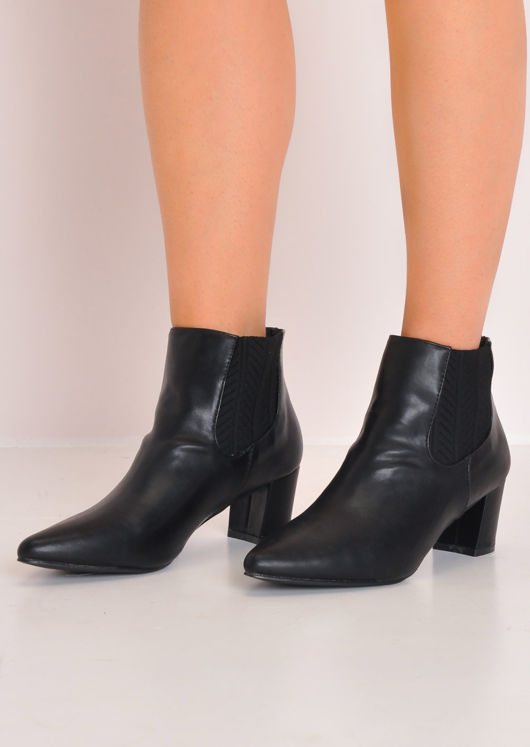 Leather Block Mid Heel Pointed Chelsea Ankle Boots Black