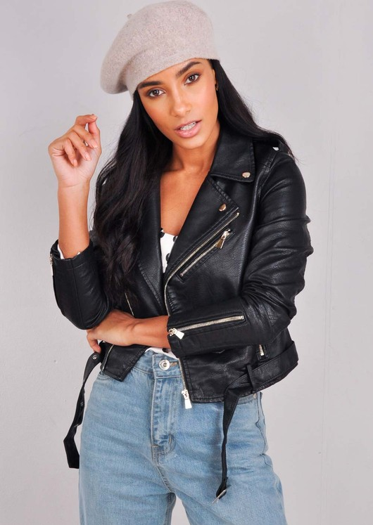 Leather Look Cropped Biker Jacket Black