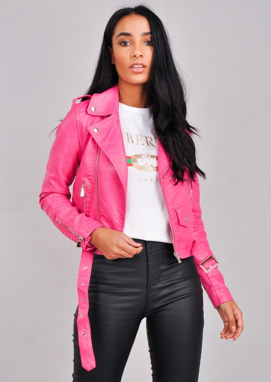 Leather Look Cropped Biker Jacket Fushia Pink